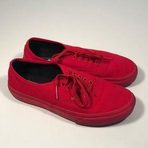 Vans Low Red Canvas Sneakers Women Size 8